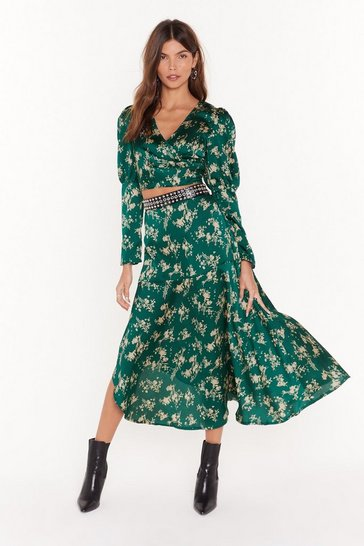 Green Nothing Bud a Goodtime Satin Floral Midi Skirt