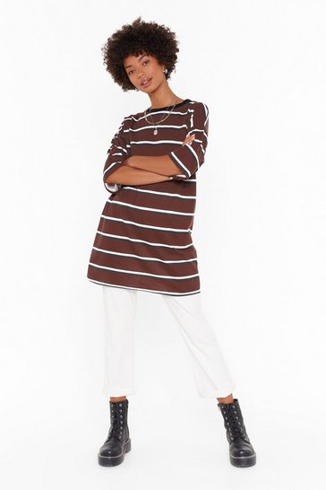 Womens Brown Forever is Oversized Striped Tee