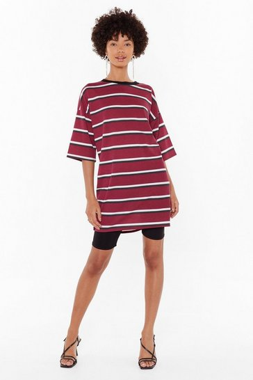 Womens Burgundy Forever is Oversized Striped Tee