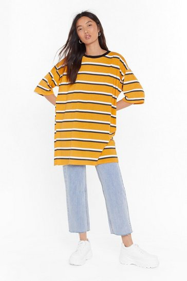 Womens Mustard Forever is Oversized Striped Tee
