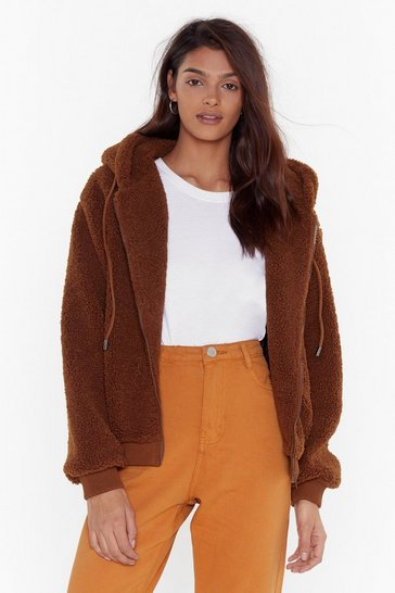 Womens Camel Teddy Fur Hooded Bomber
