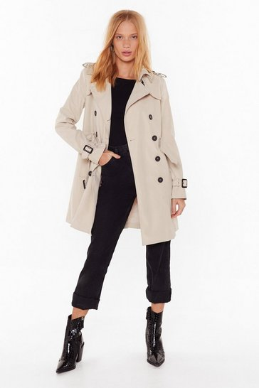 Beige Take Cover Double Breasted Trench Coat