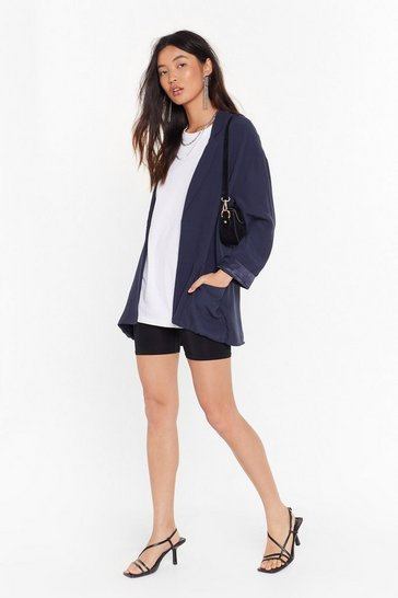 Navy Big Break Oversized Blazer
