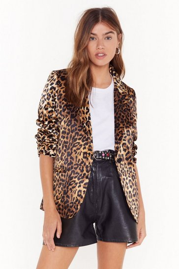 Womens Brown Satin Leopard Blazer