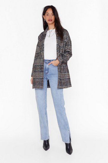 Womens Black I Want You So Plaid Oversized Coat