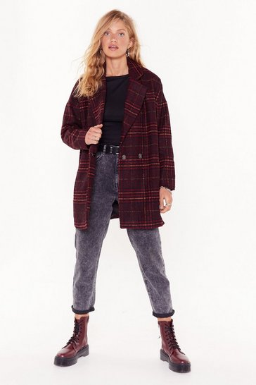 Red I Want You So Plaid Oversized Coat