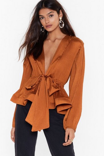 Womens Rust Pleat Don't Call Plunging Tie Blouse