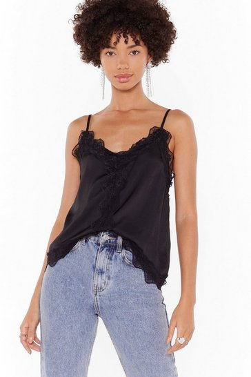 Black The Lace I Belong Satin Cami Top