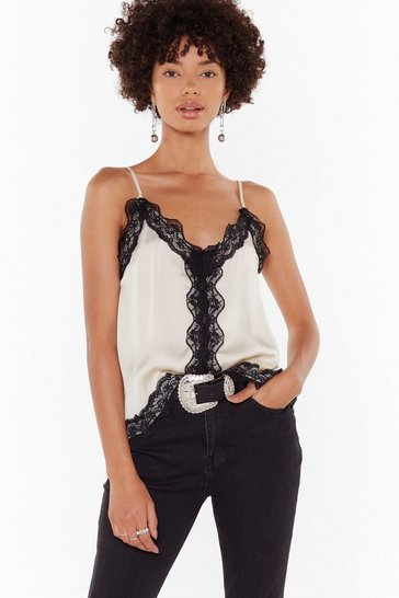 Womens Cream The Lace I Belong Satin Cami Top