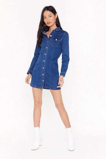 Womens Blue Born With Good Jeans Button-Down Denim Dress