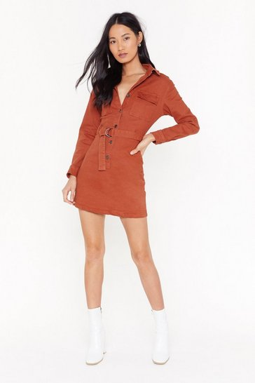 Womens Rust Belted Button Down Mini Denim Dress