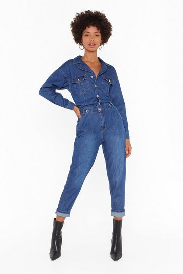 Womens Blue Can't Hold Me Button-Down Denim Boilersuit