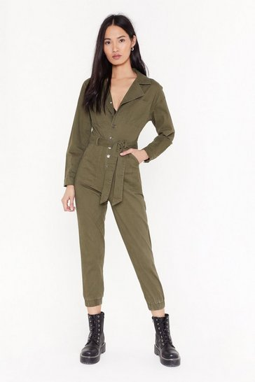Womens Khaki Tie Waist Button Down Denim Jumpsuit