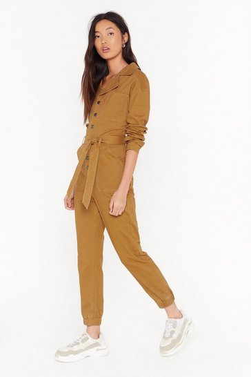 Womens Mustard Tie Waist Button Down Denim Jumpsuit