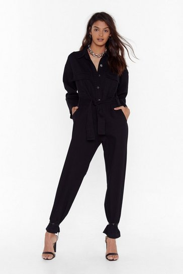 Womens Black Get to Work Denim Tie Waist Boilersuit