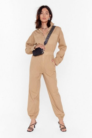 Womens Stone Read Our Zips Relaxed Denim Boilersuit