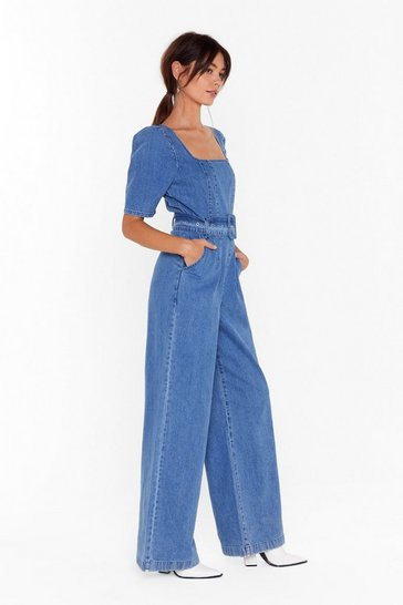 Womens Blue Got Me Square You Want Me Denim Belted Boilersuit