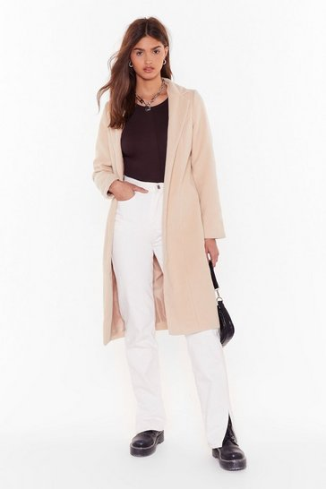 Beige Cover Me Tailored Longline Coat