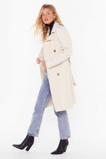 Womens Beige Troubles Belt Away Trench Coat