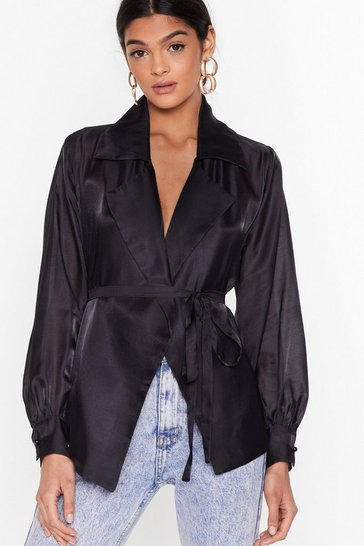 Womens Black You Belong Sheer Belted Wrap Blouse