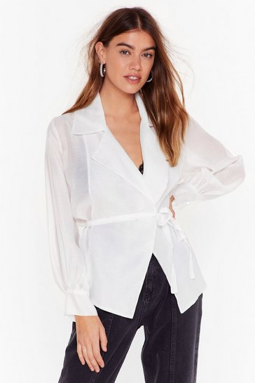 Womens White You Belong Sheer Belted Wrap Blouse