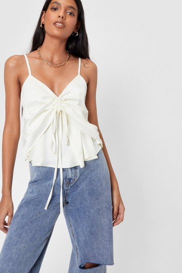 Cream Alway's in a Ruche Satin Cami Top