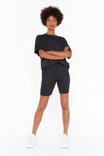 Womens Black There's Nothin' to Knit Tee and Biker Shorts Set