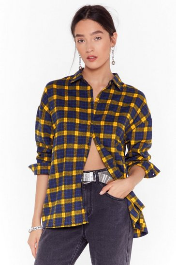 Womens Mustard Check Out Time Relaxed Plaid Shirt