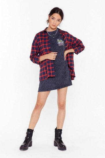 Womens Red Check Out Time Relaxed Plaid Shirt