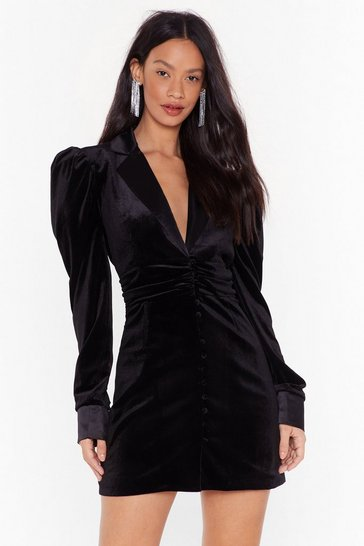Womens Black Out of Touch Velvet Blazer Dress