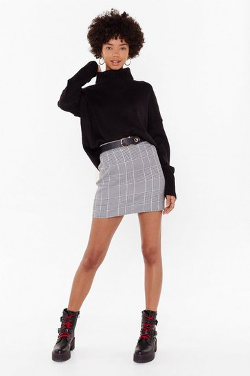 Womens Black Tell Me the Houndstooth High-Waisted Mini Skirt
