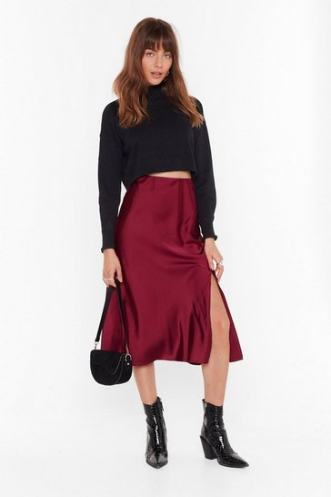 Womens Dark red Days of the Sleek Button-Down Midi Skirt