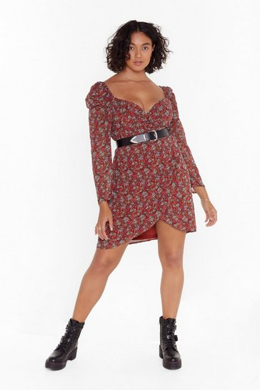 Womens Burgundy Best Buds Plus Floral Mini Dress