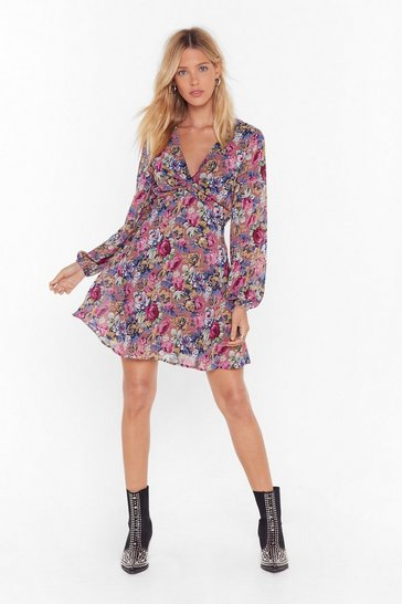 Womens Mauve Rose For Pictures Floral Mini Dress