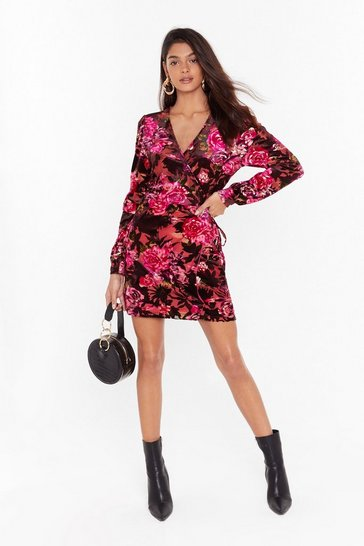Womens Pink I'll Grow With You Floral Velvet Dress