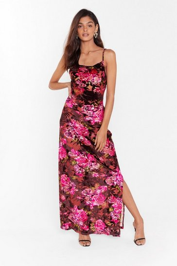 Womens Pink I'll Grow With You Floral Velvet Maxi Dress