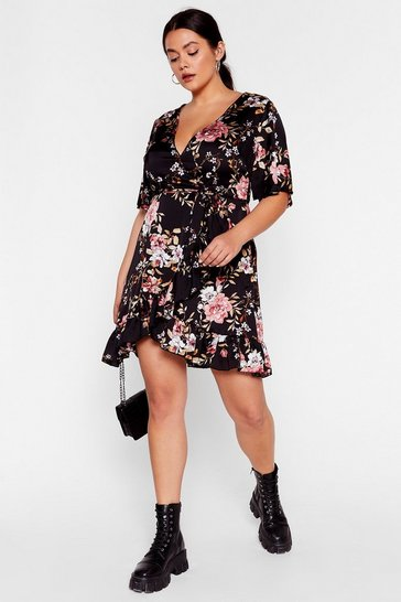 Black Wall Flower Plus Wrap Dress