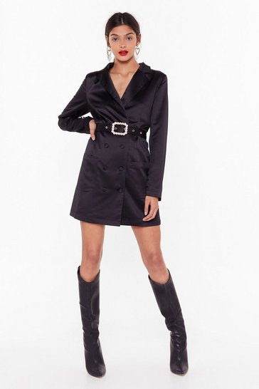 Womens Black Gossip Pearl Satin Blazer Dress