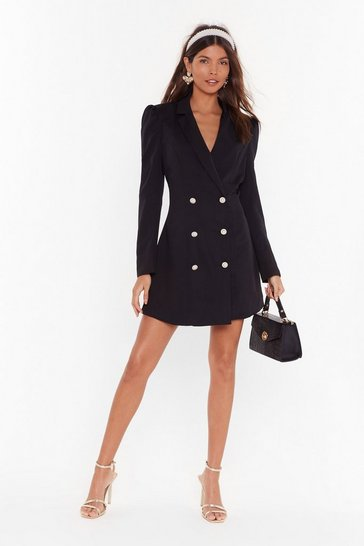 Womens Black Take It for a Pearl Mini Blazer Dress