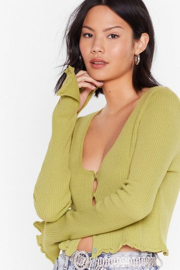 Lime License to Chill Ribbed Button-Down Cardigan