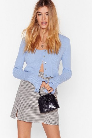 Pale blue Ribbed Split Sleeve Cropped Cardigan