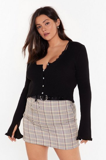 Womens Black License to Chill Plus Ribbed Cardigan