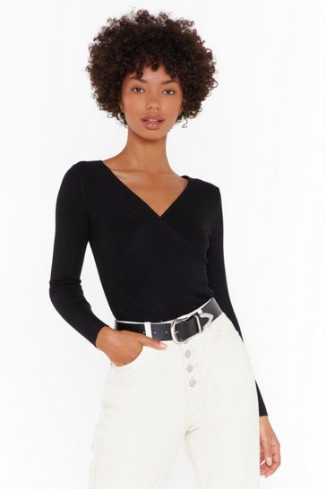 Womens Black Close the Wrap Ribbed Knit Top
