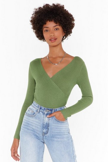 Womens Green Close the Wrap Ribbed Knit Top