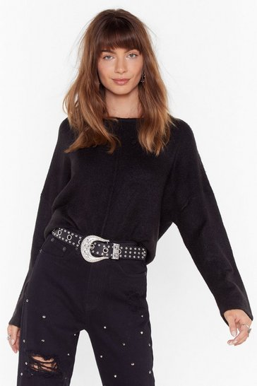 Womens Black Easy as It Seams Relaxed Knit Sweater