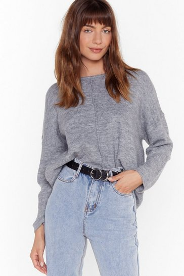 Womens Grey Easy as It Seams Relaxed Knit Jumper
