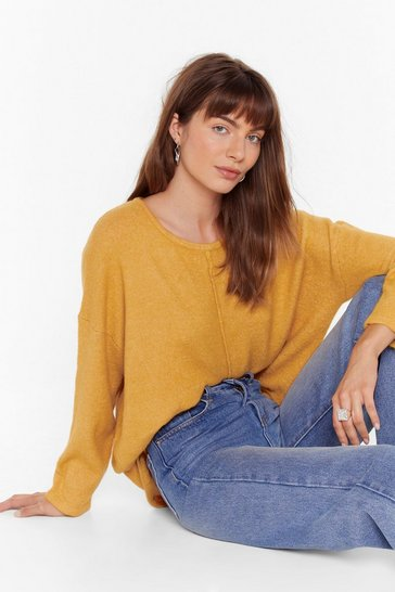 Womens Mustard Easy as It Seams Relaxed Knit Sweater