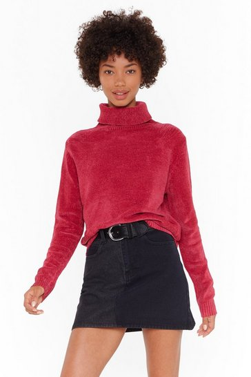 Womens Pink Chenille in the Air Turtleneck Sweater