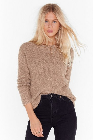 Womens Taupe Knit Just Got Better Low Back Sweater