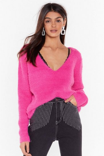 Hot pink Fluffy Knit V Neck Jumper